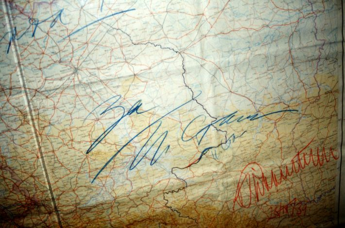 The map of the MRP with signatures. Photo: National Archives