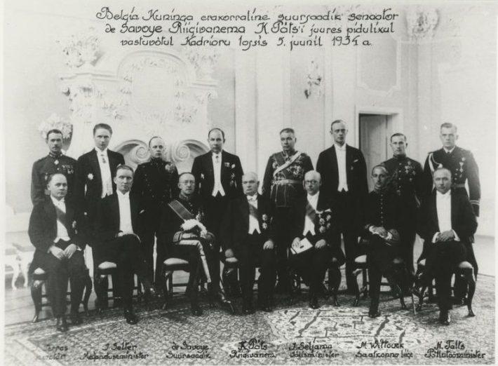 Pidulik vastuvõtt belglaste kuninga erakorralise suursaadiku senaator de Savoye' auks Kadrioru lossis 5. juuni 1934. Foto: Rahvusarhiiv
